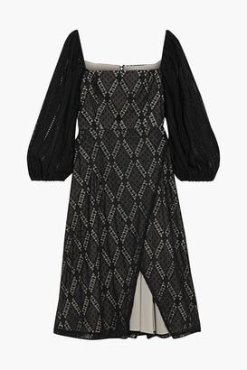 Alice + Olivia Tania Wrap-effect Crochet-trimmed Swiss-dot Georgette Dress