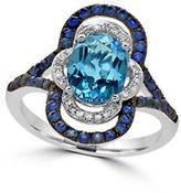 Effy 14K White Gold Blue Topaz Paisley Ring with 0.09 TCW Diamonds