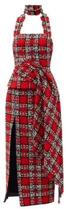 Halpern Fringed Halterneck Tweed Bustier Top - Red