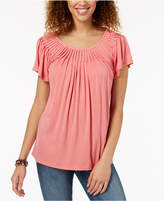Style&Co. Style & Co Pleated-Neck Top, Created for Macy's
