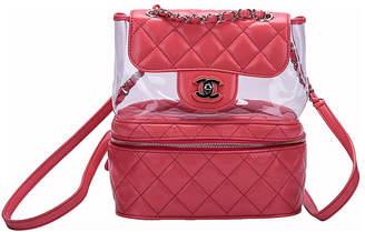 One Kings Lane Vintage Chanel Vinyl & Pink Leather Backpack - Vintage Lux