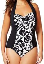 Anne Cole Underwire D-Cup Bra Tankini Skirt Swimsuit Swimwear Set Blue 38D XL