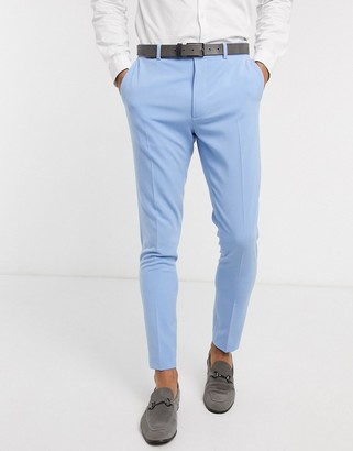 ASOS DESIGN wedding super skinny suit trousers in azure blue in four way stretch
