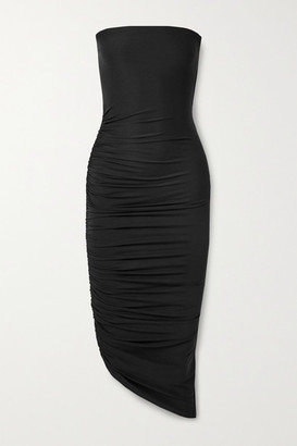 Alix Crawford Strapless Asymmetric Ruched Stretch-jersey Dress - Black
