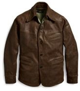 mens brown leather car coat - ShopStyle