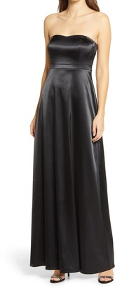 Lulus These Are The Nights Strapless Satin Gown