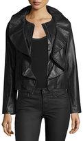 Milly Lightweight Ruffle-Collar Leather Jacket, Black