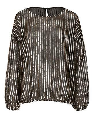 Simply Be Black/Gold Long Sleeve Sequin Top
