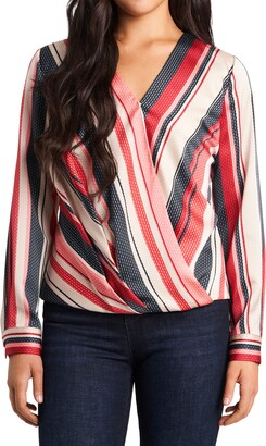 Vince Camuto Gala Stripe Wrap Front Long Sleeve Blouse