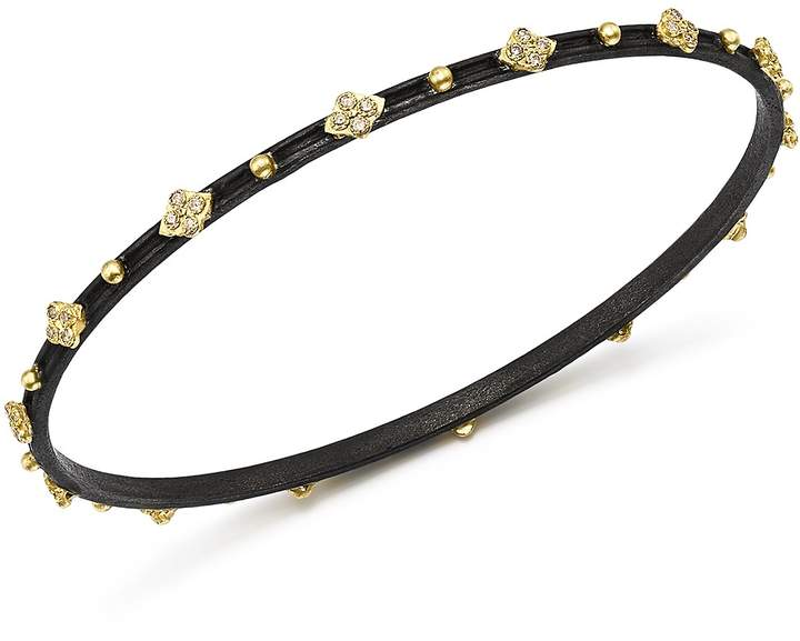 Armenta 18K Yellow Gold & Blackened Sterling Silver Old World Cravelli Diamond Bangle