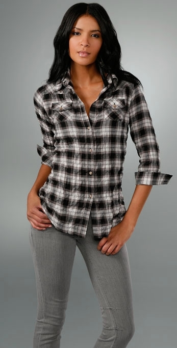 Elizabeth and James Plaid Fitted Cohen Shirt