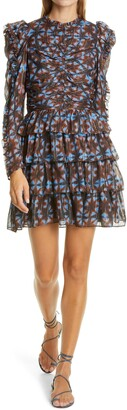 Ulla Johnson Siya Metallic Long Puff Sleeve Silk Dress