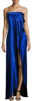 Diane von Furstenberg Strapless Draped Satin Side-Slit Gown, Blue