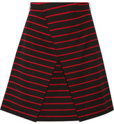 Proenza Schouler Wrap-effect Striped Cotton And Wool-blend Jacquard Mini Skirt - Black