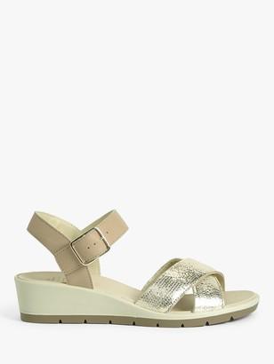 John Lewis & Partners Designed for Comfort Kamari Leather Wedge Heel Sandals, Gold