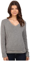 Michael Stars Cotton Slub Long Sleeve Reversible Double Layer Vee Neck