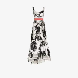 Silvia Tcherassi Womens Black Elvira Floral Print Prom Dress