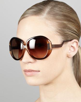 Diane von Furstenberg Round Enamel/Metal Sunglasses, Brown