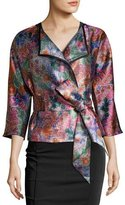 Armani Collezioni Floral Jacquard Draped Jacket with Belt, Multicolor