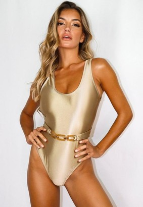 Missguided Gold High Shine Scoop High Leg Swimsuit