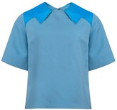 Manley Luna Wool Top with Neon Leather Collar Blue