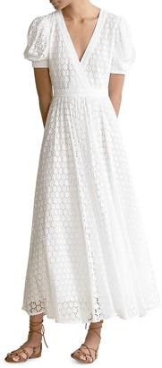 Polo Ralph Lauren Lace Eyelet Short Puff-Sleeve A-Line Dress