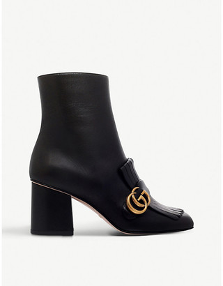 Gucci Marmont Leather Heeled Ankle Boots, Size: 8 UK WOMEN