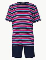 M&S Collection Pure Cotton Striped Pyjama Shorts Set