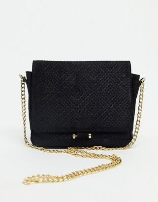 Urban Code Urbancode cross body bag in weave embossed suede in black