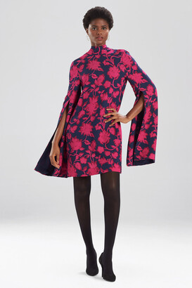 Natori Ikebana Floral Cape Dress