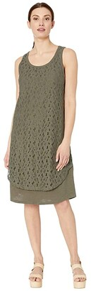 Tribal Dress w/ Lace Layer (Khaki) Women's Clothing