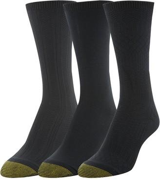 Gold Toe Women's Ultra Soft Texture Crew Socks 3 Pairs