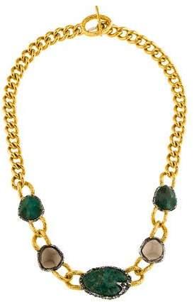 Alexis Bittar Crystal, Chrysocolla & Smoky Quartz Collar Necklace
