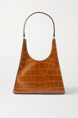 STAUD Rey Croc-effect Leather Tote - Brown