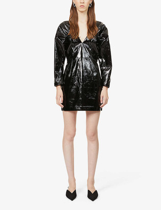 Rotate by Birger Christensen Clara patent faux-leather mini dress