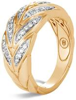 John Hardy 18K Yellow Gold Modern Chain Pavé Diamond Small Ring
