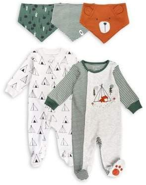 M·A·C Mac & Moon Baby Boy's Camp Bear 5-Piece Cotton Sleep-Play Bundle Set