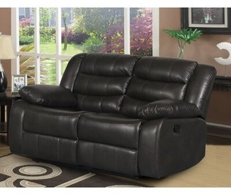 "Red Barrel Studio Trista Reclining 58.25"" Pillow Top Arms Loveseat Fabric: Dark Gray Faux leather"