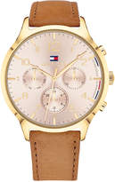 Tommy Hilfiger Women's Emmy Camel Leather Strap Watch 38mm, Created for Macy's