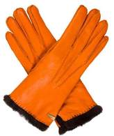 Les Copains Leather Fur-Trimmed Gloves