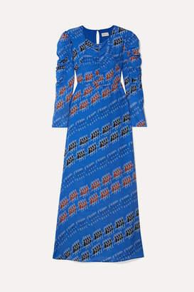 By Malene Birger Printed Crepe De Chine Maxi Dress - Royal blue