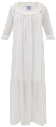Thierry Colson Rosine Floral-embroidered Cotton-voile Maxi Dress - Womens - White