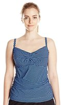 Christina Women's Ocean Pearl D-Cup Twist-Front Cami Tankini
