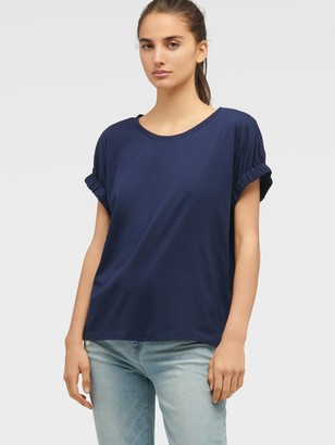 DKNY Women's Tee With Elastic Cuff Sleeve - Ink - Size XS