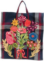 Gucci floral embroidered check tote