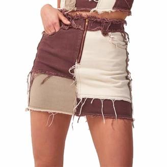 Qtinghua Women Patchwork Skirt Middle Waist Buttock Wrapping Short Dress Denim Mini Vintage Color Block (#1-Black M)