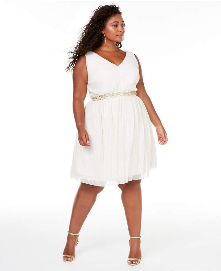 Trendy Plus Size Embellished Fit & Flare Dress