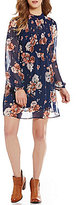 As U Wish Floral-Overlay Mockneck Sheath Dress