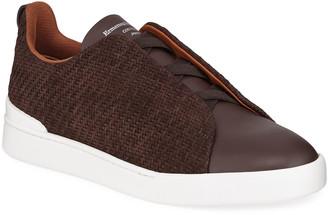 Ermenegildo Zegna Men's Tripe-Stitch Pelle Tessuta Woven Nubuck Sneakers