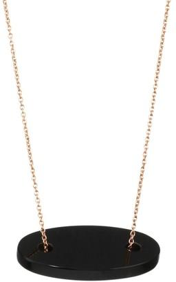 ginette_ny 18K Rose Gold & Black Onyx Mini Ellipse Pendant Necklace